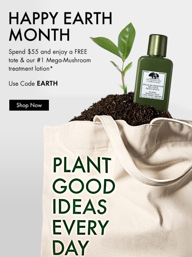 Origins Canada Canadian Earth Day Earth Month April 2019 Deals GWP Gift with Purchase Promo Code Coupon Codes Free Tote and Mega-Mushroom Lotion - Glossense
