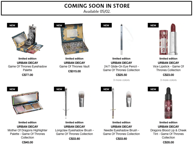 Sephora Canada Canadian New Arrival New Release Urban Decay Game of Thrones Makeup Collection - Glossense