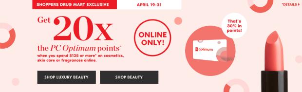 Shoppers Drug Mart Canada SDM Canadian Beauty Boutique PC Optimum Offer Bonus Beauty Get Rewarded Free PC Points 20x 125 April 19 21 2019 - Glossense