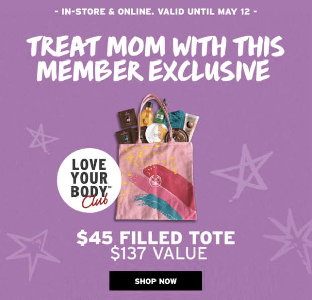 The Body Shop Canada Mother's Day 2019 Canadian Deals Love Your Body Member Exclusive Mother's Day Filled Tote Bag Beauty Offers Promotion - Glossense