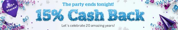 Rakuten Canada Canadian Cash Back Birthday Event Free Money 400 stores 20 Years May 2019 - Glossense