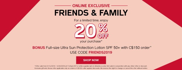Shiseido Canada Promo Code Friends and Family Sale Event Freebie Free Full-size SPF Sunscreen with Purchase May 2019 Canadian Sale Deals GWP Offer - Glossense