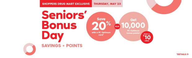 Shoppers Drug Mart Canada SDM Beauty Boutique Seniors Bonus Day May 23 2019 PC Optimum Points Save Canadian Sale Bonus PC Optimum Points - Glossense