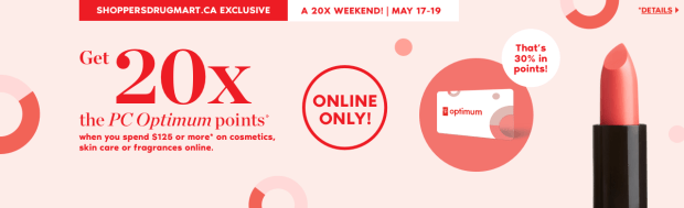 Shoppers Drug Mart Canada SDM Canadian Beauty Boutique PC Optimum Offer Bonus Beauty Get Rewarded Free PC Points 20x 125 May 17 19 Long Weekend 2019 - Glossense