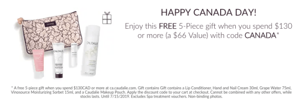Caudalie Canada Canada Day Canadian Promotions GWP Free 5 piece beauty skincare gift set June July 2019 - Glossense