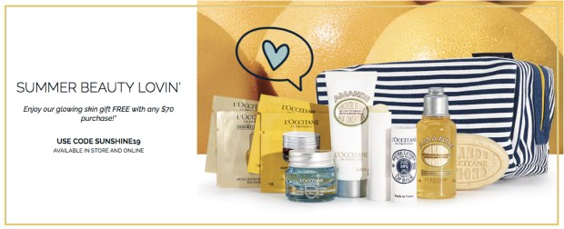 L'Occitane en Provence Canada Free June 2019 Gift Rewards Free Summer Glowing Beauty Gift with Purchase 2019 Canadian June GWP Promo Coupon Code - Glossense