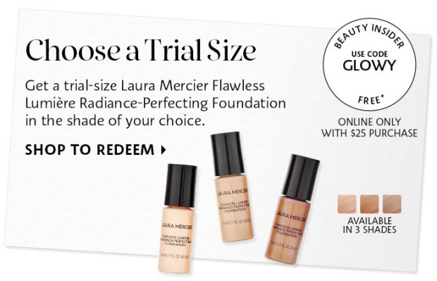 Sephora Canada Canadian Promo Code Coupon Codes Beauty Offer Free Laura Mercier Flawless Lumiere Radiance Perfecting Foundation Trial-Size Sample GWP Deluxe Mini Gift with Purchase - Glossense
