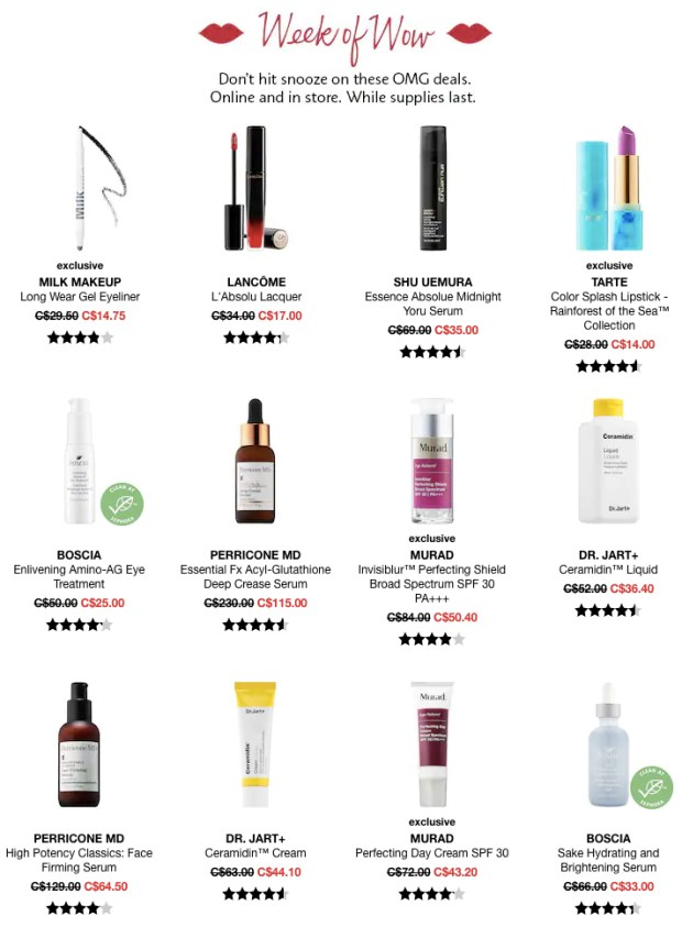 Sephora Canada Week of Wow Weekly Canadian Beauty Deals Month Monthly Wow June 13 2019 - Glossense