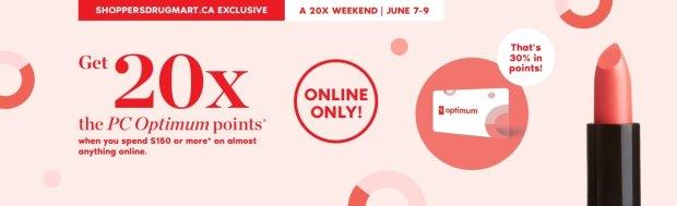 Shoppers Drug Mart Canada SDM Canadian Beauty Boutique PC Optimum Offer Bonus Beauty Get Rewarded Free PC Points 20x 150 June 7 9 2019 - Glossense