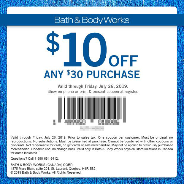 Bath and Body Works Canada Canadian Coupon 10 Off 30 Mobile Print Printable Coupons Summer July 2019 - Glossense