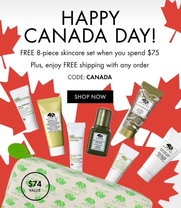 Origins Canada Day Free Shipping with ANY Order Free 8-pc Skincare Gift Set with Purchase 2019 Canadian Deals Promo Code GWP Offer - Glossense