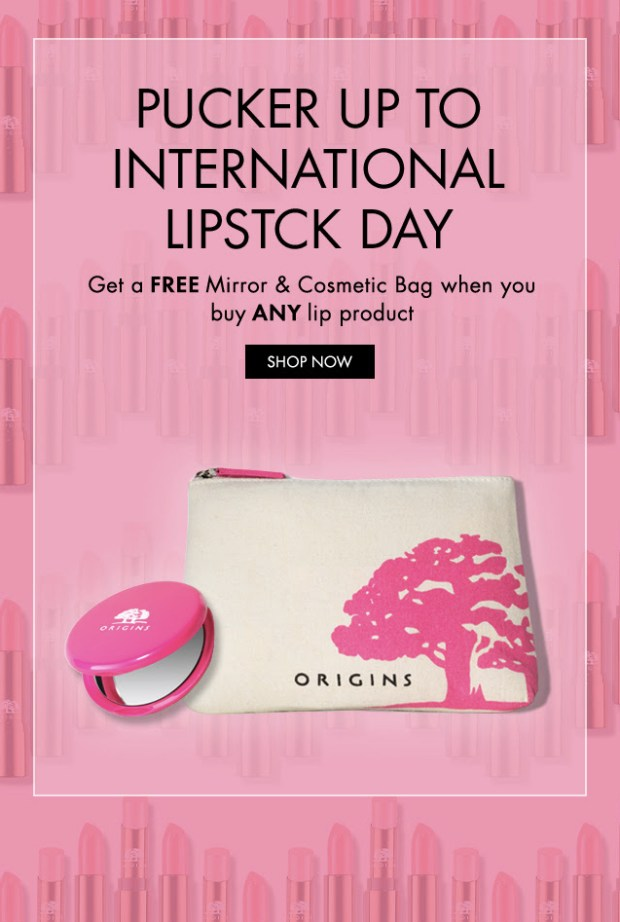 Origins Canada National Lipstick Day Canadian GWP Deals Free Gifts with Purchase July 29 2019 - Glossense