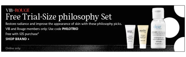 Sephora Canada Beauty Insider Gift July 2019 Rouge VIB Free Canadian Philosophy Trio Skincare GWP Gift with Purchase Promo Code Coupon Codes Beauty Offer Reward Perks - Glossense