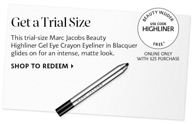 Sephora Canada Canadian Coupon Code Promo Codes Beauty Offer Free Marc Jacobs Beauty Highliner Gel Eye Crayon Mini Deluxe Trial Sample GWP Gift with Purchase - Glossense