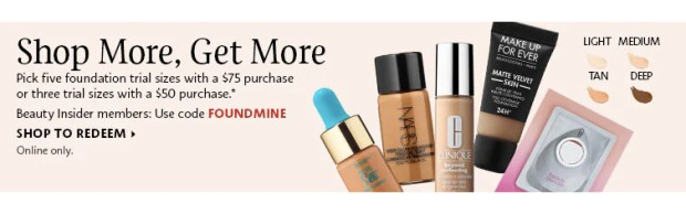 SEPHORA CANADA PROMO CODE: Add 3-5 Mini Foundations to your