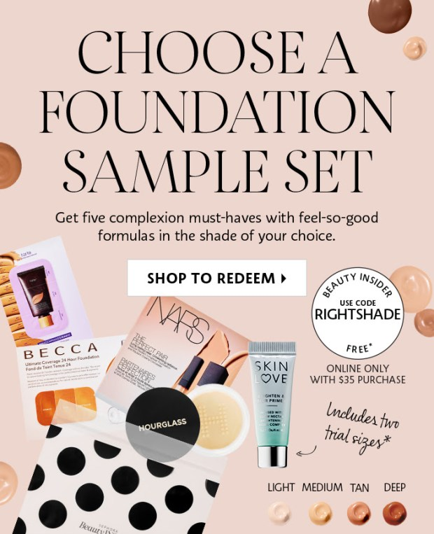 SEPHORA CANADA PROMO CODE: Free July Foundation Sample Set +