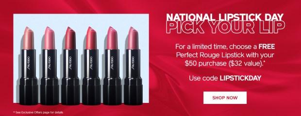 Shiseido Canada National Lipstick Day Canadian Freebie GWP Free Lipstick Gift Promo Code Coupon Codes July 29 2019 - Glossense