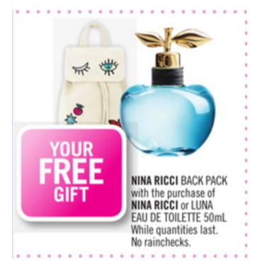 Shoppers Drug Mart Canada SDM Beauty Boutique Canadian GWP Gift with Purchase Offer Free Nina Ricci Back to School Backpack Back Pack 2019 Summer Gift Deluxe Samples Canadian Freebies - Glossense