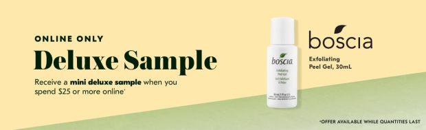 Shoppers Drug Mart SDM Beauty Boutique Canada 2019 Canadian Freebies Deals GWP Free Boscia Exfliating Peel Gel Skincare Mini Deluxe Sample - Glossense