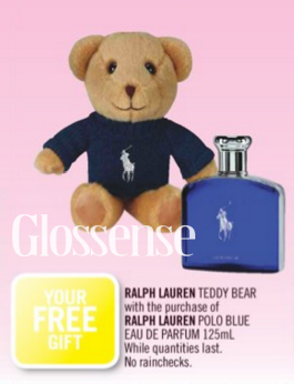 Shoppers Drug Mart Canada SDM Beauty Boutique Canadian GWP Gift with Purchase Offer Free Teddy Bear Ralph Lauren Parfum Fragrance 2019 Fall Winter Gift Deluxe Samples Canadian Freebies - Glossense