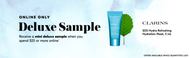 Shoppers Drug Mart SDM Beauty Boutique Canada 2019 Canadian Freebies Deals GWP Free Clarins Hydra Mask Skincare Mini Deluxe Sample - Glossense