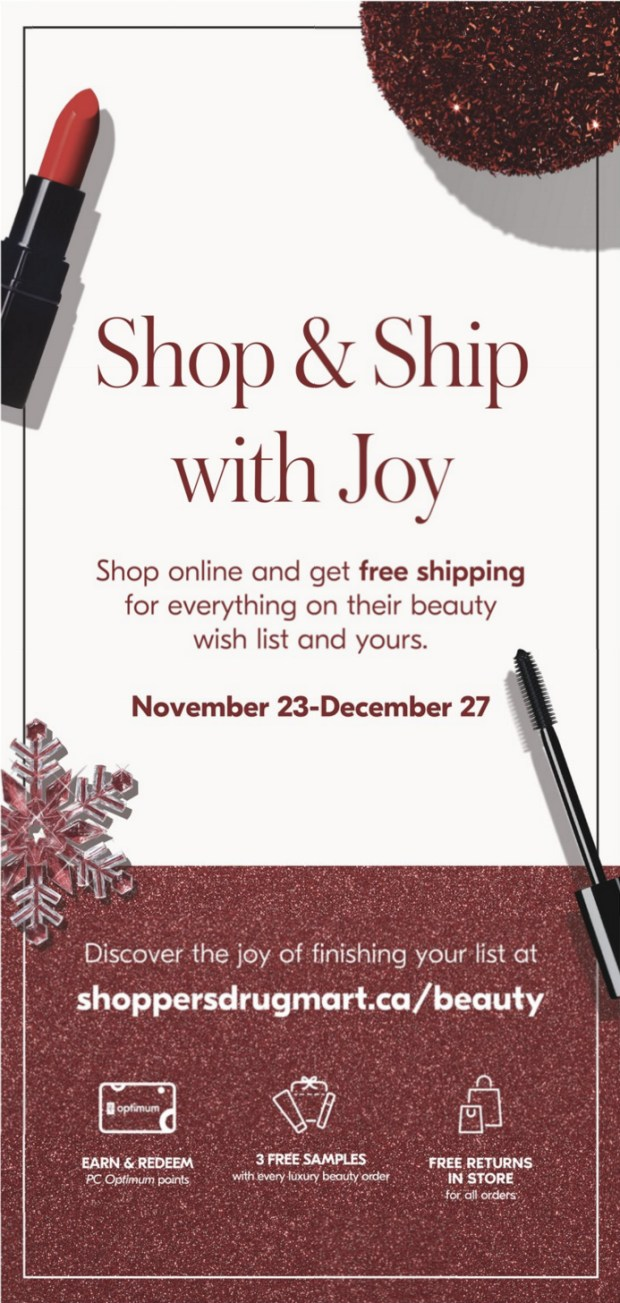 Beauty by Shoppers Drug Mart Canada Free Holiday Canadian Shipping with ANY Order November 23 December 27 2019 - Glossense