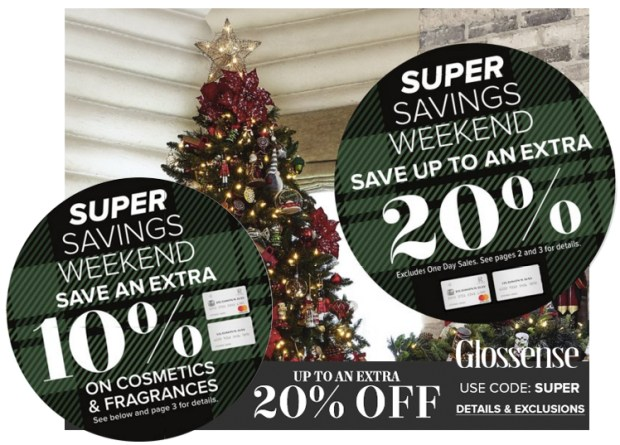Hudson's Bay Canada Super Savings Weekend Event Save 10 Off Cosmetics Fragrances Up to 20 Off Everything Else In-Store Online November 2019 Canadian Sale Holiday Deals Promo Code - Glossense