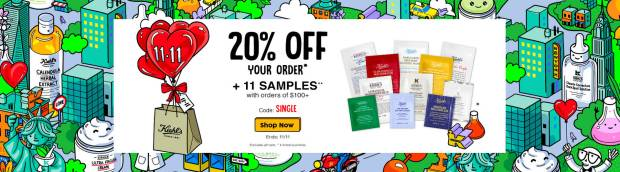 Kiehl's Canada Singles Day 2019 Canadian Sale Deals 11 Free Samples Gift Gift Set Coupon Promo Code GWP - Glossense