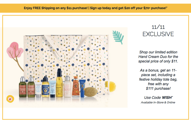 L'Occitane Canada Singles Day Exclusive Spend 11 Get Free Shipping Free 11-pc Holiday Tote Beauty Gift More 2019 Canadian Deals Specials GWP Offer Promo Code - Glossense