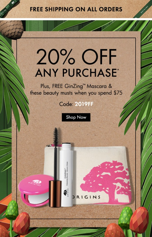 Origins Canada Friends Family Sale Event Save 20 Percent Off Free 3 Pc Gift Set Purchase 2019 Canadian Deals Promo Code GWP Offer - Glossense