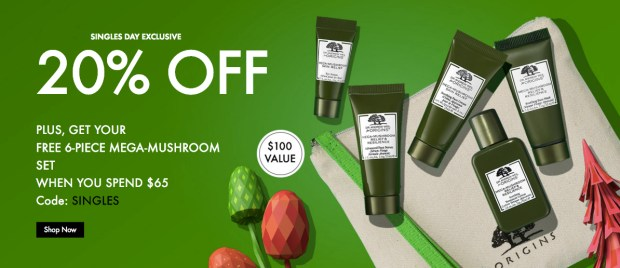 Origins Canada Singles Day Sale Save 20 Percent Off Free 6-Pc Mega Mushroom Gift Set Purchase Free Shipping 2019 Canadian Deal Deals Promo Code GWP Offer - Glossense
