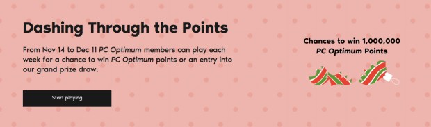 PC Optimum Canada Canadian Contest Play Dashing Through the Points Win Free PC Optimum Instant Reward Points Grand Prizes 2019 Holiday Promotion - Glossense