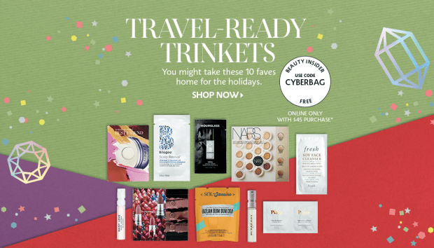 Sephora Canada Free 2019 Cyber Week 10-pc Sample Bag with Purchase Canadian Coupon Promo Codes Travel Trinkets - Glossense