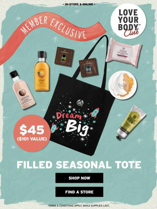 The Body Shop Canada 2019 Canadian Deals Love Your Body Member Exclusive Holiday Christmas Filled Seasonal Tote Bag Beauty Offers Promotion - Glossense