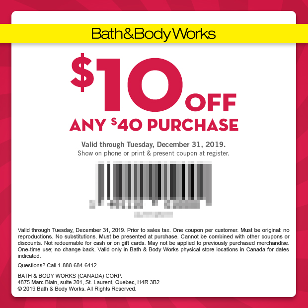 Bath Body Works Canada 10 Off 40 Purchase Mobile Printable Canadian Coupons December 2019