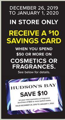 Hudson's Bay Canada 2019 Boxing Day Beauty Bonus Spend 50 Get Free 10 HBC Savings Card Canadian Deals - Glossense