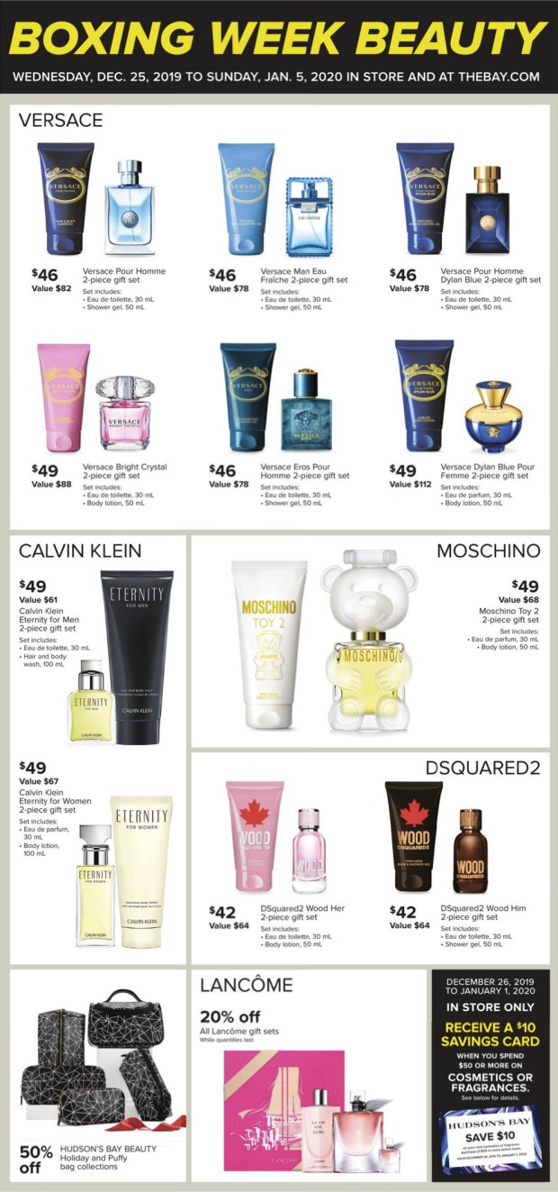 Hudson's Bay Canada 2019 Boxing Day Sale & Boxing Week Flyer Savings Canadian Beauty Deals - Glossense