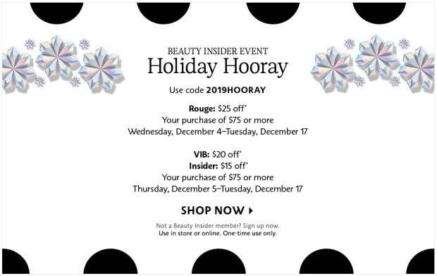 Sephora Canada Beauty Insider 2019 Holiday Hooray Christmas Bonus Event Reward Savings Canadian Coupon Promo Code Gift BI VIB Rouge Discount - Glossense