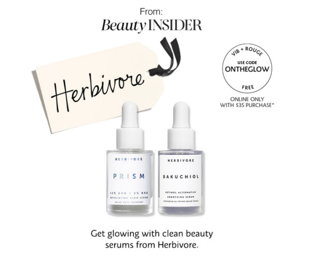 Sephora Canada Beauty Insider Gift December 2019 Rouge VIB Free Canadian Herbivore Skincare Duo 2-pc GWP Gift with Purchase Promo Code Coupon Codes Beauty Offer Reward Perks - Glossense