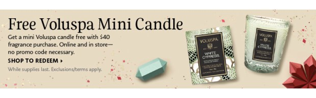 Sephora Canada Canadian Freebie Freebies Deals Free Voluspa Mini White Cypress Votive Candle Fragrance Purchase GWP Gift - Glossense