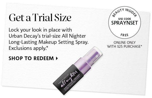 Sephora Canada Canadian Promo Code Coupon Codes Beauty Offer Free Urban Decay All Nighter Setting Spray Sample GWP Deluxe Mini Gift Purchase - Glossense