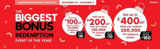 Shoppers Drug Mart Canada Beauty Boutique SDM Cyber Monday Black Friday Event 2019 Canadian Deals Biggest Bonus PC Optimum Points Bonus Redemption Event - Glossense