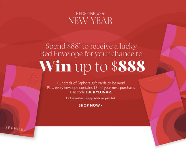 Sephora Canada 2020 Chinese Lunar New Year Lucky Red Envelope Promotion Spend 88 for Chance to Win 888 Save 8 Off 30 Canadian Contests Coupon Promo Code - Glossense