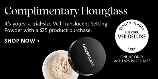 Sephora Canada Canadian Promo Code Coupon Codes Beauty Offer Free Hourglass Veil Setting Powder Sample GWP Deluxe Mini Gift Purchase - Glossense