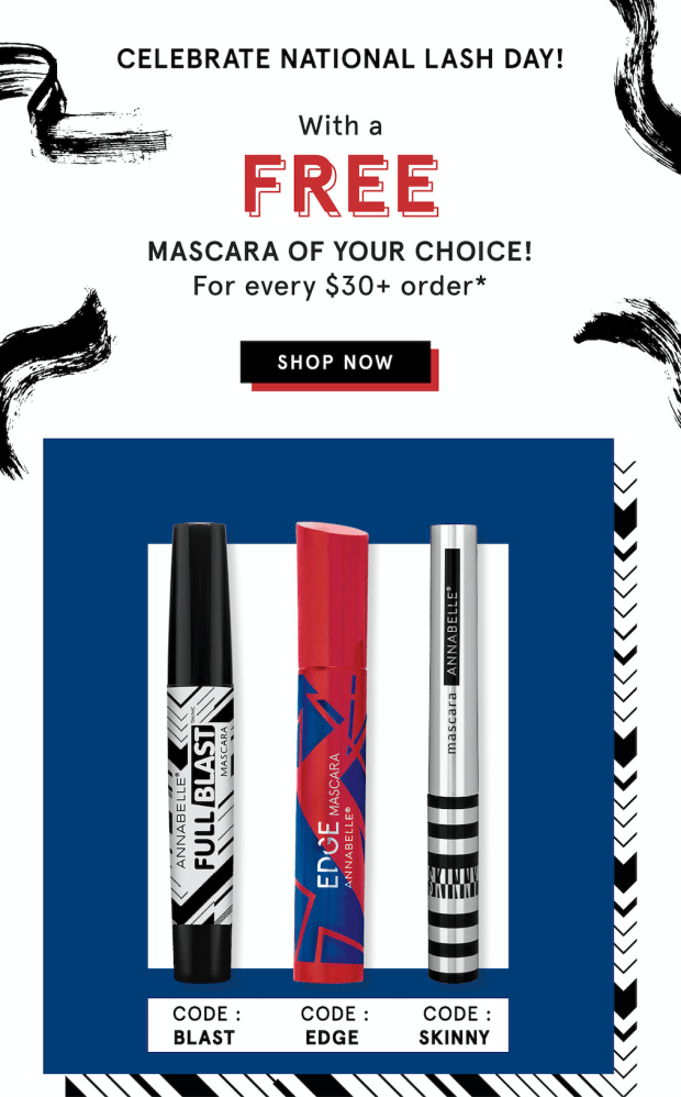 Annabelle Cosmetics Canada Free Full Blast Edge or Skinny Mascara Purchase 2020 National Lash Day Canadian Deals Promo Codes - Glossense