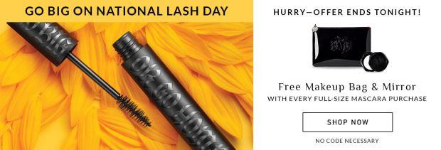 KVD Vegan Beauty Canada Free Makeup Bag and Mirror with Mascara Purchase 2 Free Bonus Kitten Minis 2020 National Lash Day Gifts Canadian Deals - Glossense