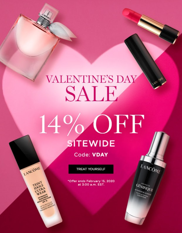 Lancome Canada Valentine's Day Sale 14 Off Sitewide 2x the Points 2020 Canadian Deals Promo Code - Glossense