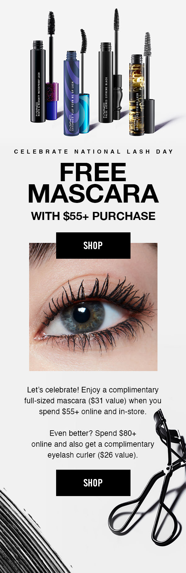 MAC Cosmetics Canada Free Full-size Mascara Eyelash Curler with Purchase 2020 National Lash Day Canadian Deals Free Gifts - Glossense