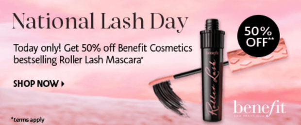 Sephora Canada 50 Off Benefit Cosmetics Roller Lash Curling Lifting Mascara 2020 National Lash Day Canadian Deal Sale - Glossense