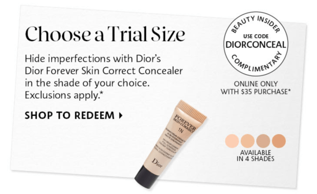 Sephora Canada Canadian Promo Coupon Code Codes Free Dior Correct Concealer Deluxe Mini Sample GWP - Glossense